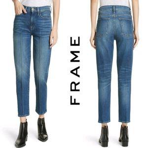 Frame Le High Pintucked Straight Leg Jean Sz 30